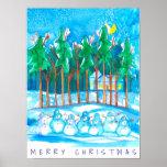 Winter Landscape Snowman Merry Christmas Poster
