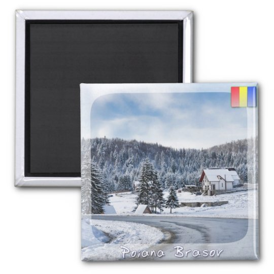Winter landscape square magnet