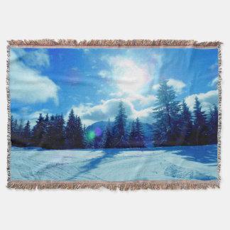 Winter landscape sun throw blanket
