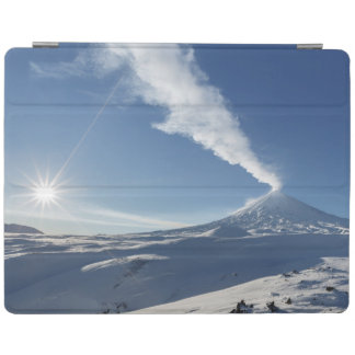 Winter landscape, view of active volcano iPad cover
