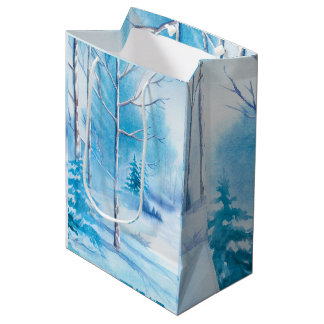 Winter landscape Watercolors Illustration Medium Gift Bag