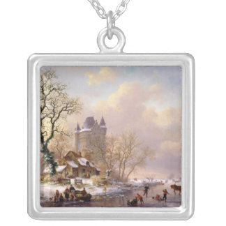 Winter Landscape with a Castle Silver Plated Necklace