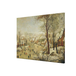Winter Landscape with Bird Trap (oil on panel) Stretched Canvas Print