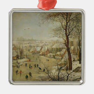 Winter Landscape with Bird Trap (oil on panel) Christmas Ornament