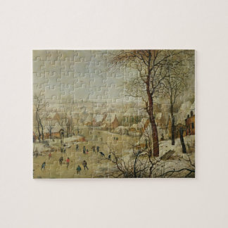 Winter Landscape with Bird Trap (oil on panel) Jigsaw Puzzle