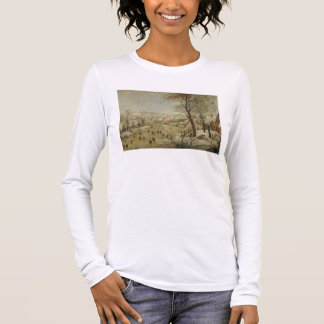 Winter Landscape with Bird Trap (oil on panel) Long Sleeve T-Shirt