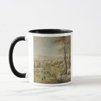 Winter Landscape with Bird Trap (oil on panel) Mug