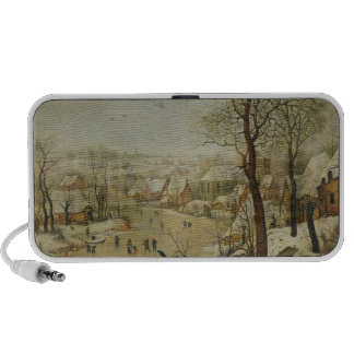 Winter Landscape with Bird Trap (oil on panel) Portable Speakers