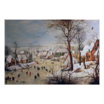 Winter Landscape with Birdtrap, 1601 Posters