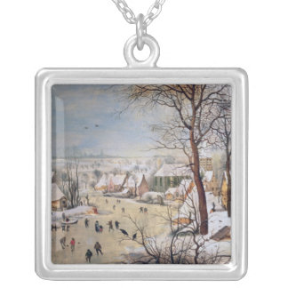 Winter Landscape with Birdtrap, 1601 Silver Plated Necklace