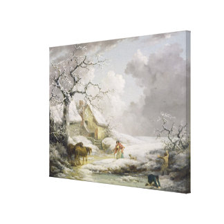 Winter Landscape with Men Snowballing an Old Woman Canvas Print