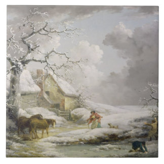 Winter Landscape with Men Snowballing an Old Woman Large Square Tile