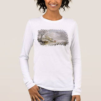 Winter Landscape with Men Snowballing an Old Woman Long Sleeve T-Shirt