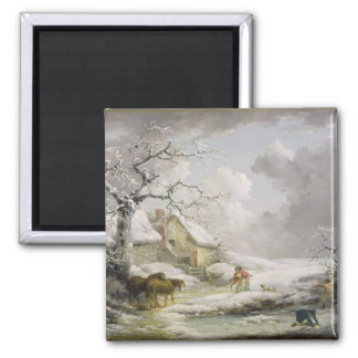 Winter Landscape with Men Snowballing an Old Woman Square Magnet