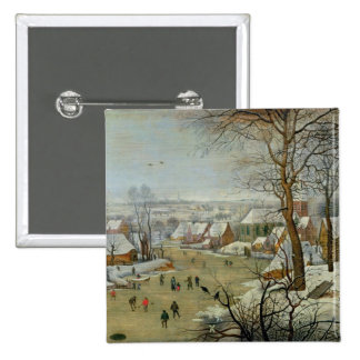 Winter Landscape with Skaters and a Bird Trap 15 Cm Square Badge