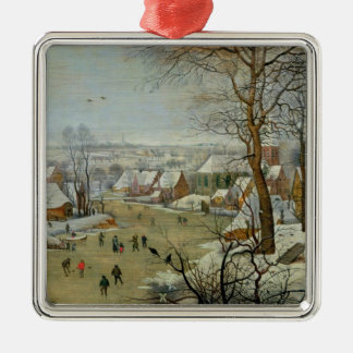 Winter Landscape with Skaters and a Bird Trap Christmas Ornament