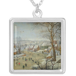 Winter Landscape with Skaters and a Bird Trap Silver Plated Necklace