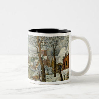 Winter Landscape with Skaters and a Bird Trap Two-Tone Coffee Mug
