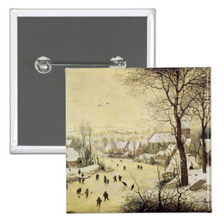 Winter Landscape with Skaters 15 Cm Square Badge