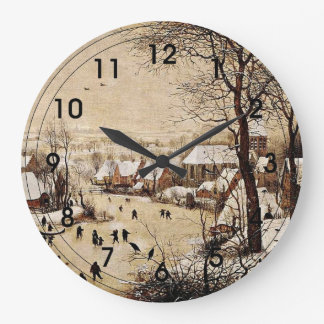 Winter Landscape with Skaters Large Clock
