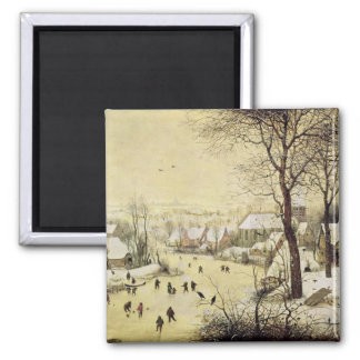 Winter Landscape with Skaters Square Magnet