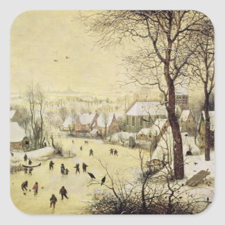 Winter Landscape with Skaters Square Sticker