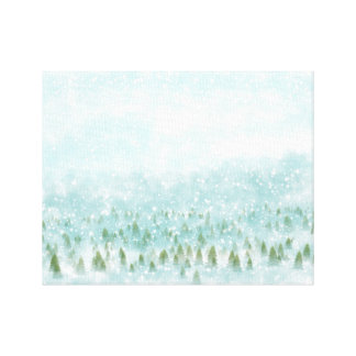 Winter landscape with snowy background canvas print