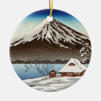Winter landscape with view of Mount Fuji Round Ceramic Decoration