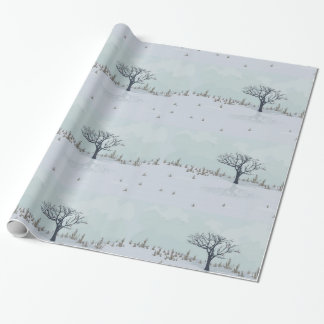 Winter landscape wrapping paper