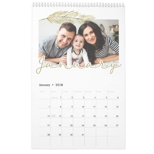 Winter leaf Single Page Calendar, Medium Wall Calendar