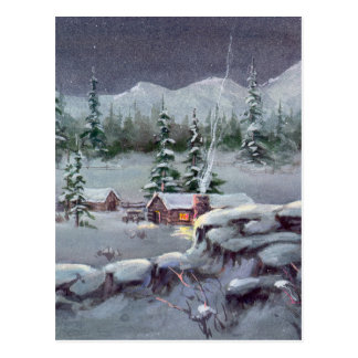 WINTER LOG CABIN by SHARON SHARPE Postcard