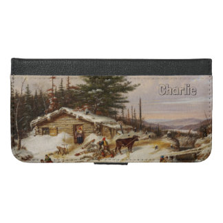 Winter Log House custom monogram phone wallets
