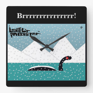 Winter Lonely Monster Square Wall Clock