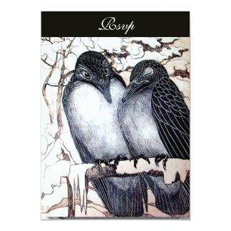 WINTER LOVE BIRDS  BLACK WHITE DAMASK MONOGRAM CARD