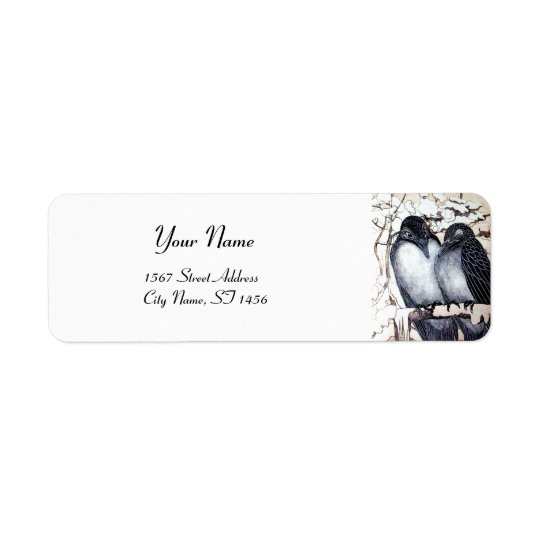 WINTER LOVE BIRDS RETURN ADDRESS LABEL