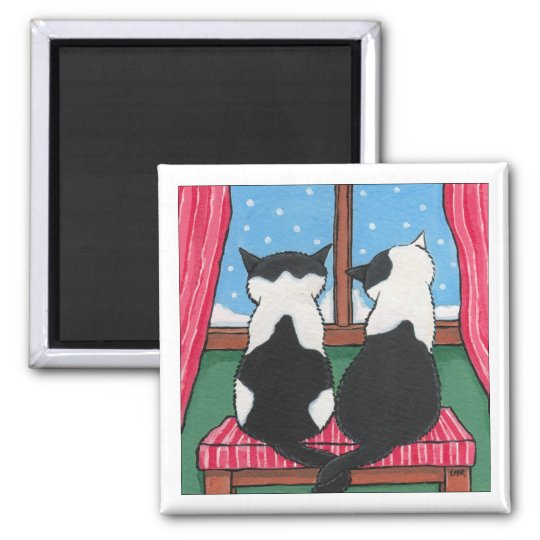 Winter Love Cats Holding Tails | Cat Art Square Magnet