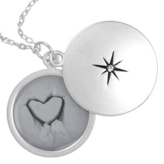 Winter Love - Heart in Snow Locket Necklace