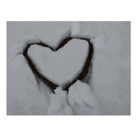 Winter Love - Heart in Snow Postcard