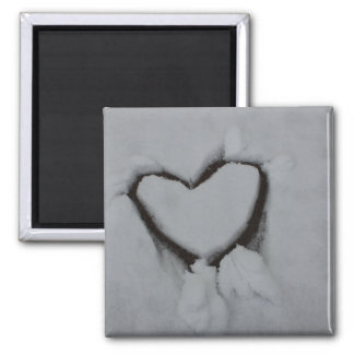 Winter Love - Heart in Snow Square Magnet