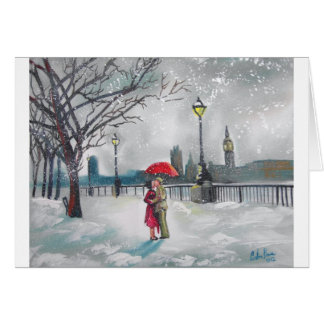 Winter lovers snow London Thames Big Ben painting Card