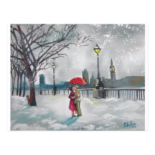 Winter lovers snow London Thames Big Ben painting