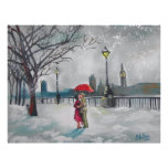 Winter lovers snow London Thames Big Ben painting Poster