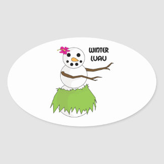 Winter Luau Oval Sticker
