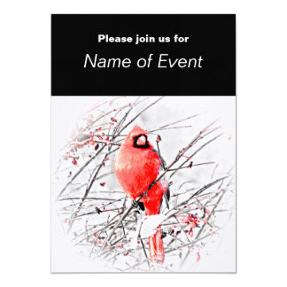 "WINTER MALE CARDINAL 5"" X 7"" INVITATION CARD"