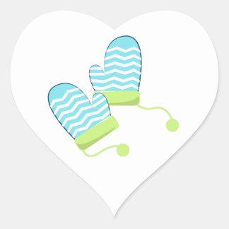 Winter Mittens Heart Sticker