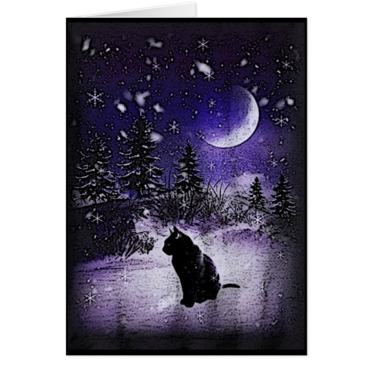 Winter Moon Black Cat Greeting Card