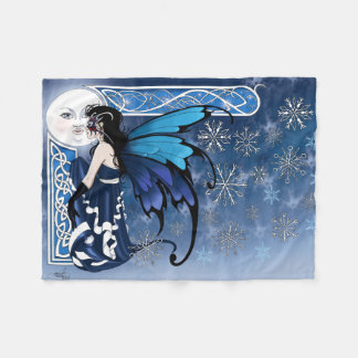 Winter Moon Fairy Fleece Blanket