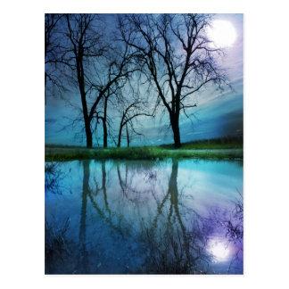Winter moon , postcard