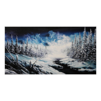 Winter Moon snow scene canvas painting for sale Poster