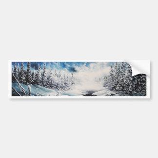 Winter Moon snow scene on customizable products Bumper Sticker